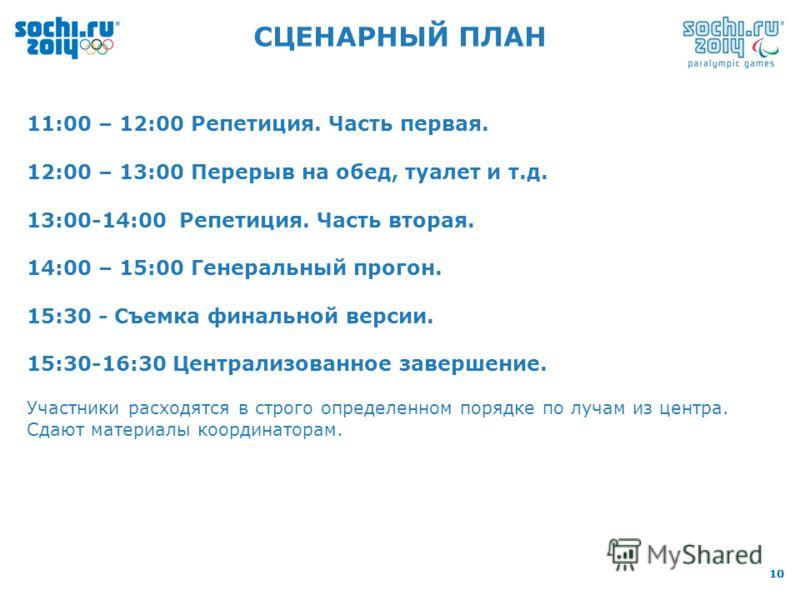10 CЦЕНАРНЫЙ ПЛАН 11:00 – 12:00 Репетиция. Часть первая. 12:00 – 13:00 Перерыв на обед, туалет и т.д. 13:00-14:00 Репетиция. Часть вторая. 14:00 – 15:00 Генеральный прогон. 15:30 - Съемка финальной версии. 15:30-16:30 Централизованное завершение. Уча