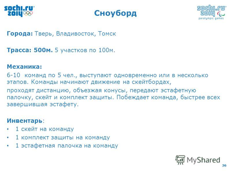 36 Города: Тверь, Владивосток, Томск Трасса: 500м. 5 участков по 100м. Механика: 6-10 команд по 5 чел., выступают одновременно или в несколько этапов. Команды начинают движение на скейтбордах, проходят дистанцию, объезжая конусы, передают эстафетную