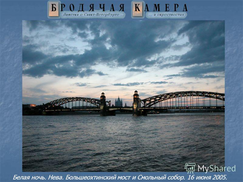 Белая ночь. Нева. Большеохтинский мост и Смольный собор. 16 июня 2005.