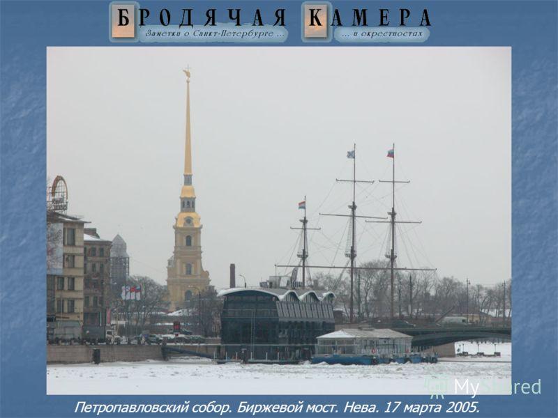 Петропавловский собор. Биржевой мост. Нева. 17 марта 2005.