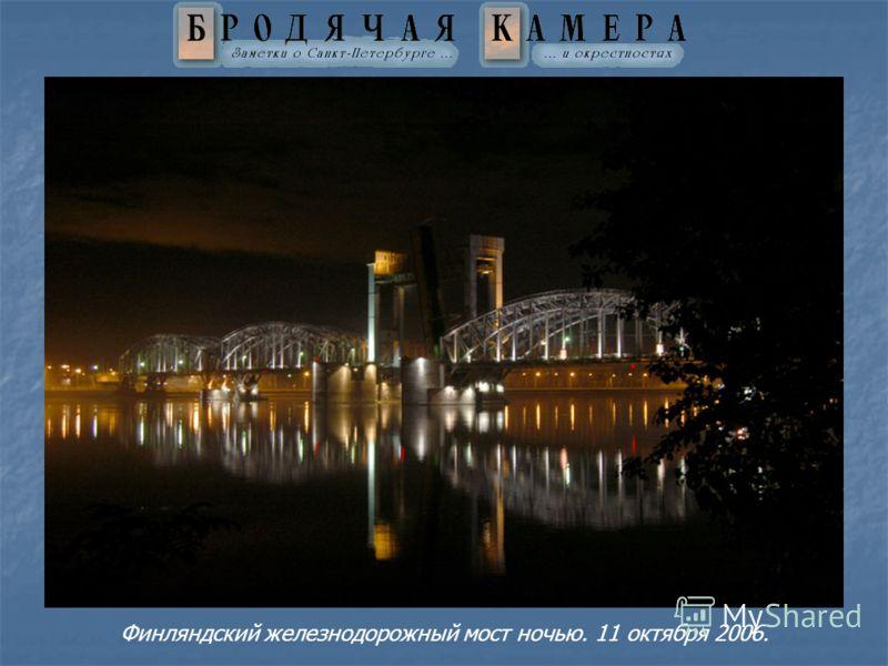 Финляндский железнодорожный мост ночью. 11 октября 2006.