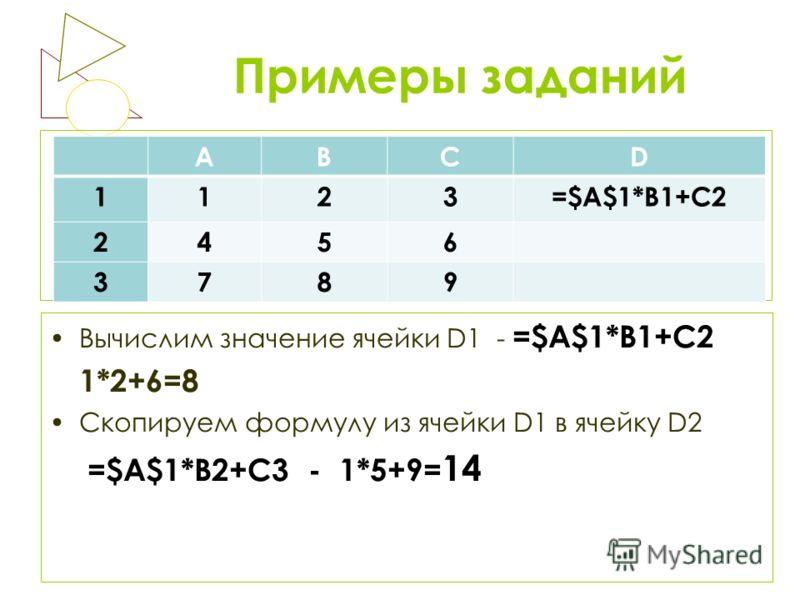 Примеры заданий Вычислим значение ячейки D1 - =$A$1*B1+C2 1*2+6=8 Скопируем формулу из ячейки D1 в ячейку D2 =$A$1*B2+C3 - 1*5+9= 14 АВСD 1123=$A$1*B1+C2 2456 3789