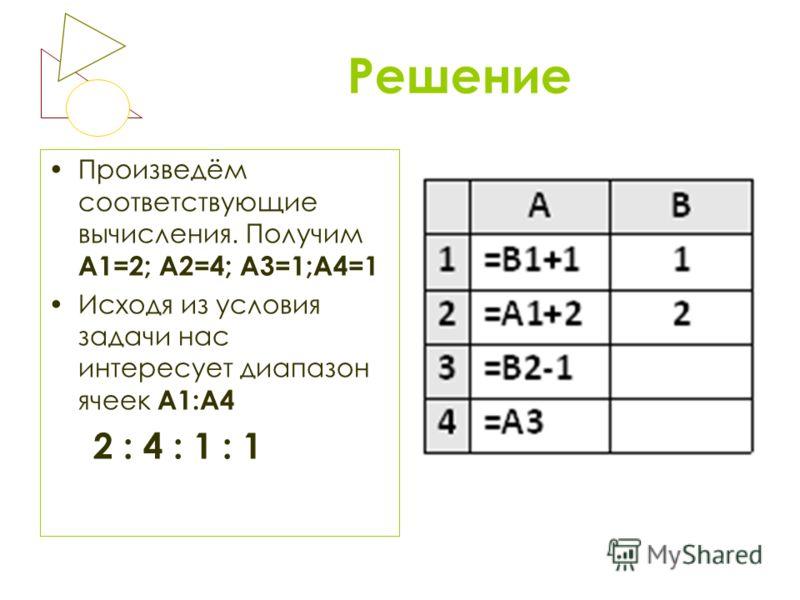 Решение Произведём соответствующие вычисления. Получим А1=2; А2=4; А3=1;А4=1 Исходя из условия задачи нас интересует диапазон ячеек А1:А4 2 : 4 : 1 : 1