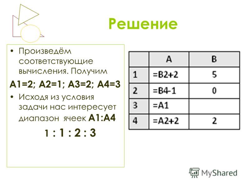 Решение Произведём соответствующие вычисления. Получим А1=2; А2=1; А3=2; А4=3 Исходя из условия задачи нас интересует диапазон ячеек А1:А4 1 : 1 : 2 : 3