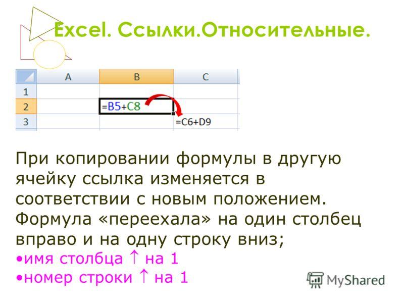Excel. Ссылки.Относительные. При копировании формулы в другую ячейку ссылка изменяется в соответствии с новым положением. Формула «переехала» на один столбец вправо и на одну строку вниз; имя столбца на 1 номер строки на 1