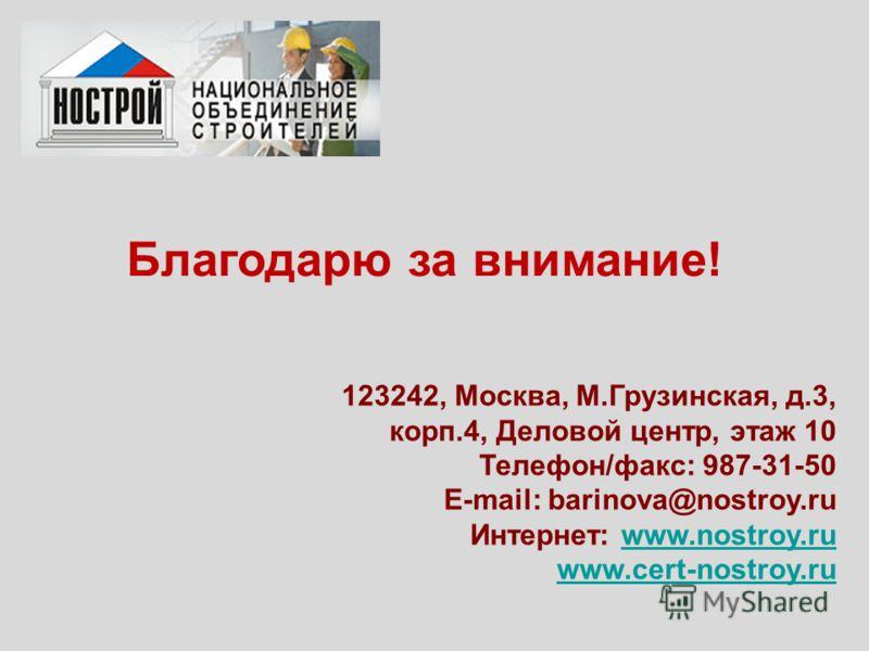Благодарю за внимание! 123242, Москва, М.Грузинская, д.3, корп.4, Деловой центр, этаж 10 Телефон/факс: 987-31-50 E-mail: barinova@nostroy.ru Интернет: www.nostroy.ruwww.nostroy.ru www.cert-nostroy.ru