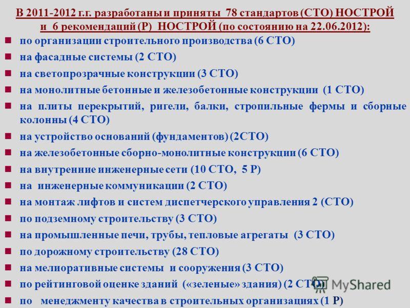 В 2011-2012 г.г. разработаны и приняты 78 стандартов (СТО) НОСТРОЙ и 6 рекомендаций (Р) НОСТРОЙ (по состоянию на 22.06.2012): по организации строительного производства (6 СТО) на фасадные системы (2 СТО) на светопрозрачные конструкции (3 СТО) на моно