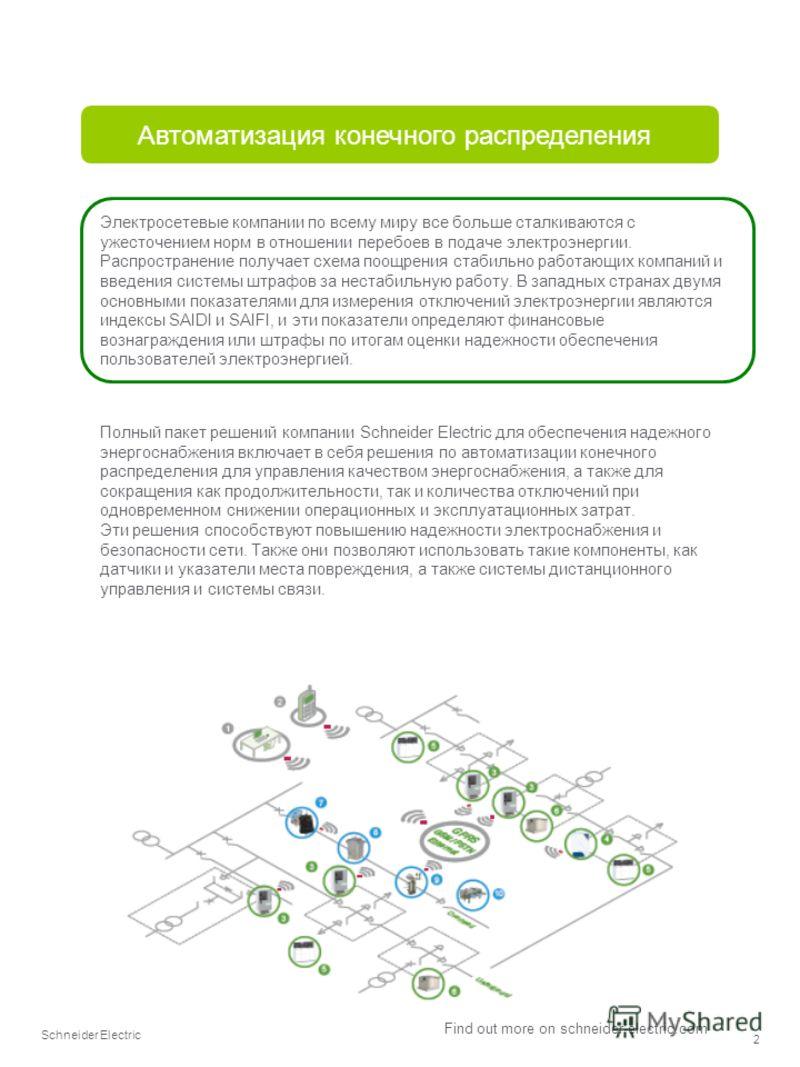 Schneider Electric 2 Find out more on schneider-electric.com Автоматизация конечного распределения Полный пакет решений компании Schneider Electric для обеспечения надежного энергоснабжения включает в себя решения по автоматизации конечного распредел