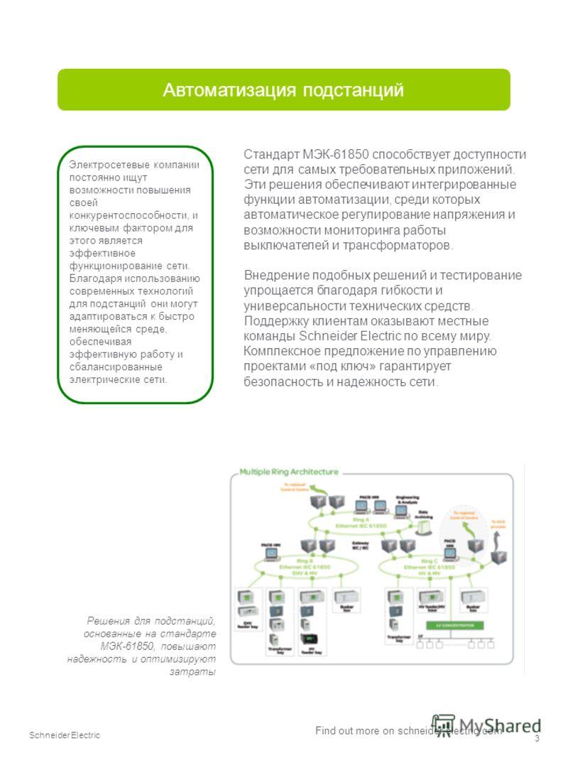 Schneider Electric 3 Find out more on schneider-electric.com Автоматизация подстанций Стандарт МЭК-61850 способствует доступности сети для самых требовательных приложений. Эти решения обеспечивают интегрированные функции автоматизации, среди которых