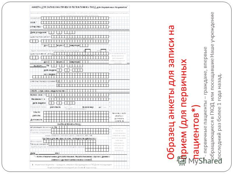 Образец анкеты для записи на прием ( для первичных пациентов *) *- первичные пациенты – граждане, впервые обращающиеся в ГКОД или посещавшие Наше учреждение последний раз более 1 года назад.