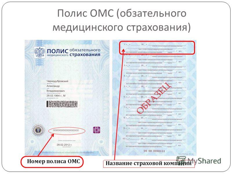 Полис ОМС ( обзательного медицинского страхования ) Название страховой компании Номер полиса ОМС