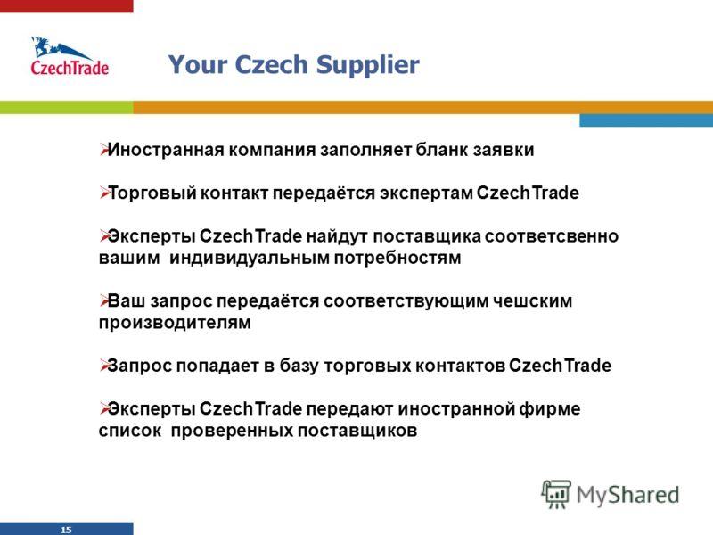 15 Your Czech Supplier Иностранная компания заполняет бланк заявки Торговый контакт передаётся экспертам CzechTrade Эксперты CzechTrade найдут поставщика соответсвенно вашим индивидуальным потребностям Ваш запрос передаётся соответствующим чешским пр