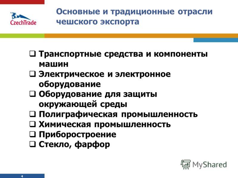 4 4 Основные и традиционные отрасли чешского экспорта Транспортные средства и компоненты машин Электрическое и электронное оборудование Оборудование для защиты окружающей среды Полиграфическая промышленность Химическая промышленность Приборостроение