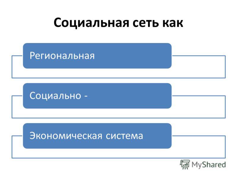 Социальная сеть как РегиональнаяСоциально -Экономическая система
