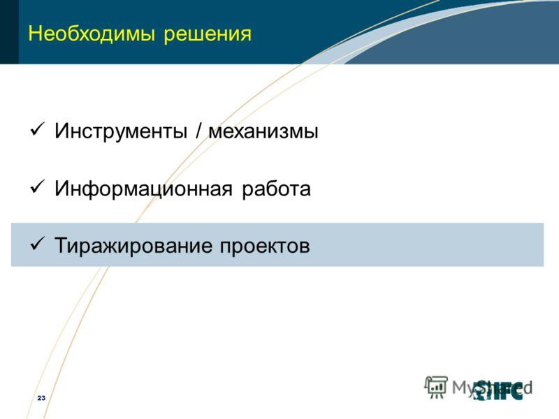 23 Необходимы решения Инструменты / механизмы Информационная работа Тиражирование проектов