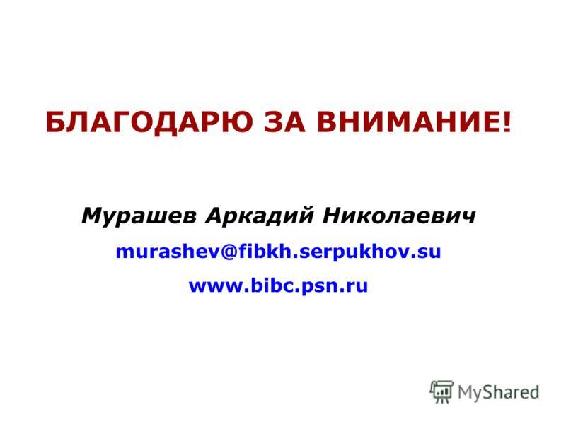 БЛАГОДАРЮ ЗА ВНИМАНИЕ! Мурашев Аркадий Николаевич murashev@fibkh.serpukhov.su www.bibc.psn.ru