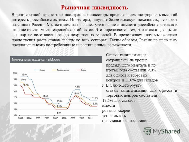 В долгосрочной перспективе иностранные инвесторы продолжат демонстрировать высокий интерес к российским активам. Инвесторы, ищущие более высокую доходность, осознают потенциал России. Мы ожидаем дальнейшее увеличение стоимости российских активов в от