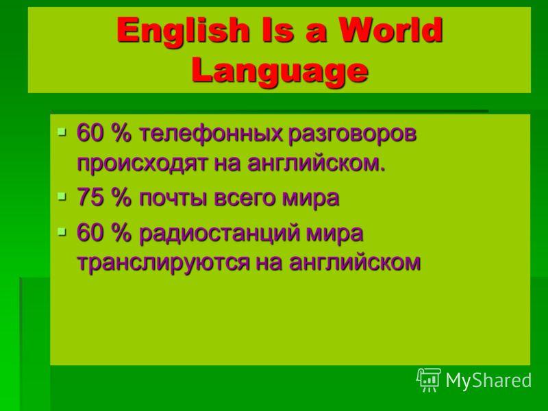English Is a World Language 60 % телефонных разговоров происходят на английском. 60 % телефонных разговоров происходят на английском. 75 % почты всего мира 75 % почты всего мира 60 % радиостанций мира транслируются на английском 60 % радиостанций мир