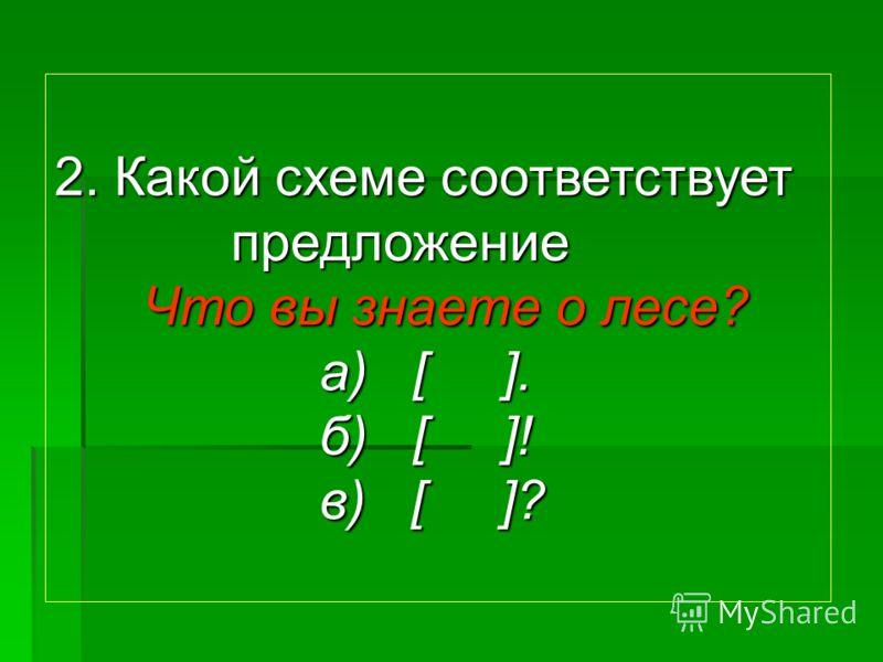 2. Какой схеме соответствует предложение Что вы знаете о лесе? а) [ ]. б) [ ]! в) [ ]?