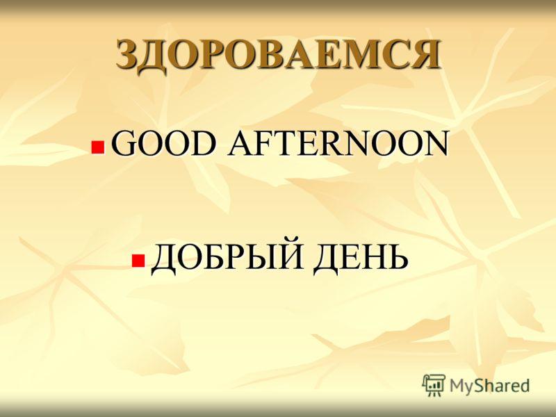 ЗДОРОВАЕМСЯ GOOD AFTERNOON GOOD AFTERNOON ДОБРЫЙ ДЕНЬ ДОБРЫЙ ДЕНЬ