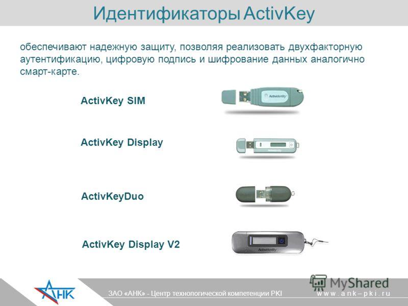 ЗАО «АНК» - Центр технологической компетенции PKI w w w. a n k – p k i. r u Идентификаторы ActivKey обеспечивают надежную защиту, позволяя реализовать двухфакторную аутентификацию, цифровую подпись и шифрование данных аналогично смарт-карте. ActivKey