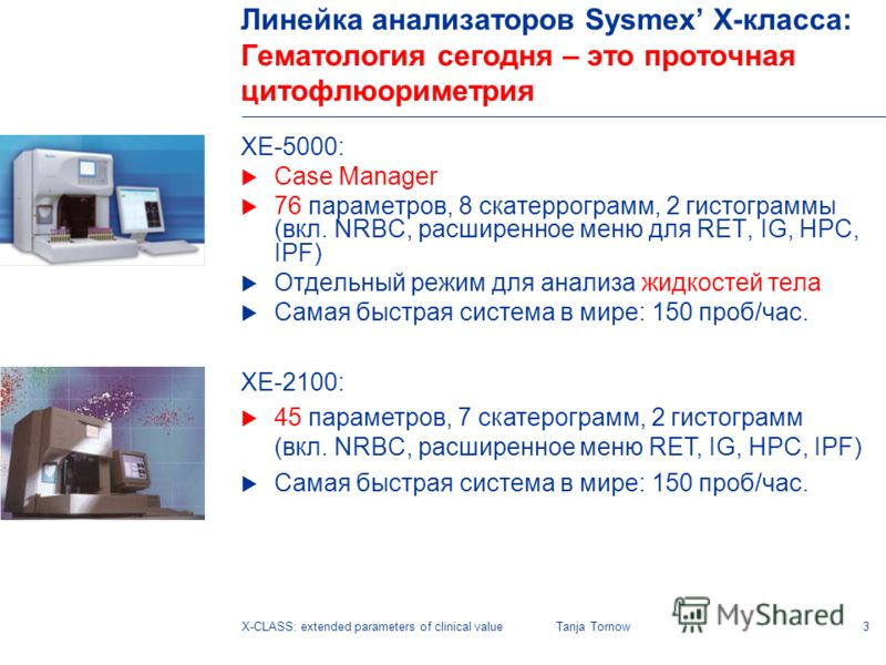 3X-CLASS: extended parameters of clinical valueTanja Tornow Линейка анализаторов Sysmex X-класса: Гематология сегодня – это проточная цитофлюориметрия XE-5000: Case Manager 76 параметров, 8 скатеррограмм, 2 гистограммы (вкл. NRBC, расширенное меню дл