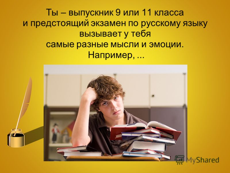 Ты – выпускник 9 или 11 класса и предстоящий экзамен по русскому языку вызывает у тебя самые разные мысли и эмоции. Например,...