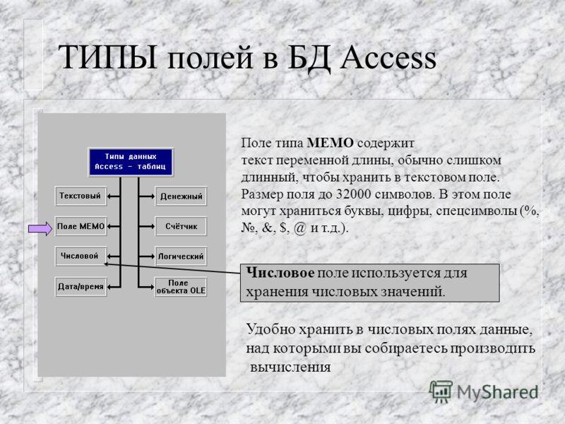 ТИПЫ полей в БД Access Поле типа MEMO содержит текст переменной длины, обычно слишком длинный, чтобы хранить в текстовом поле. Размер поля до 32000 символов. В этом поле могут храниться буквы, цифры, спецсимволы (%,, &, $, @ и т.д.). Числовое поле ис