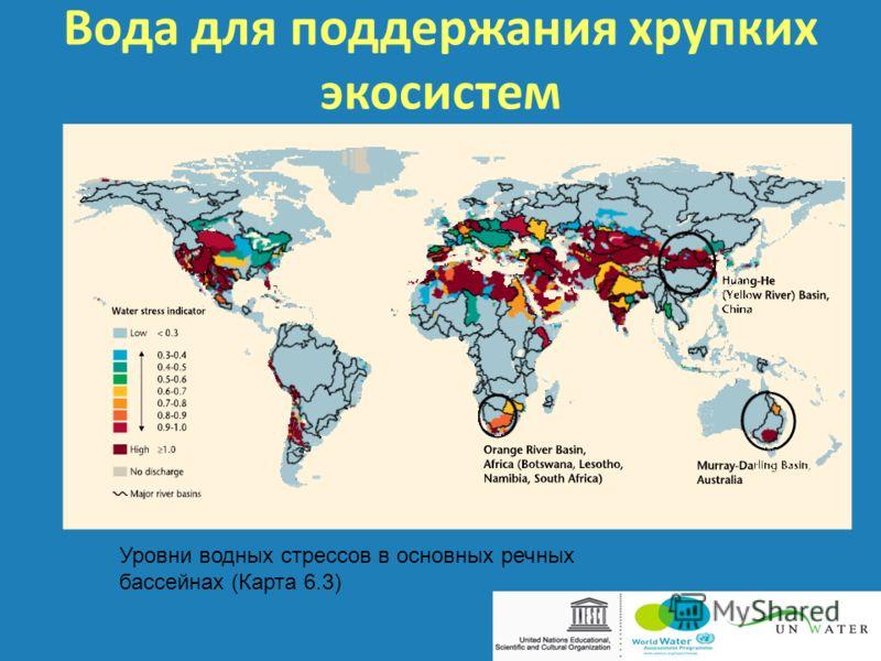 Вода для поддержания хрупких экосистем Уровни водных стрессов в основных речных бассейнах (Карта 6.3)
