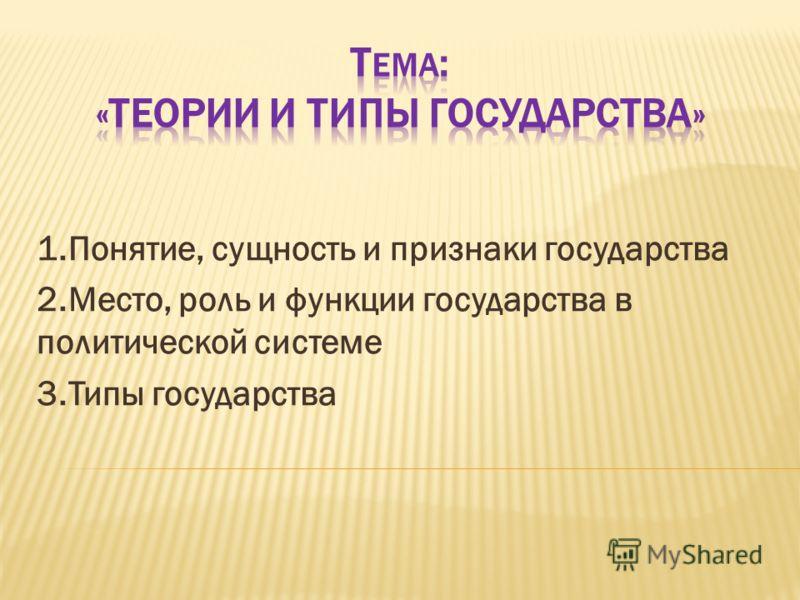 1.Понятие, сущность и признаки государства 2.Место, роль и функции государства в политической системе 3.Типы государства