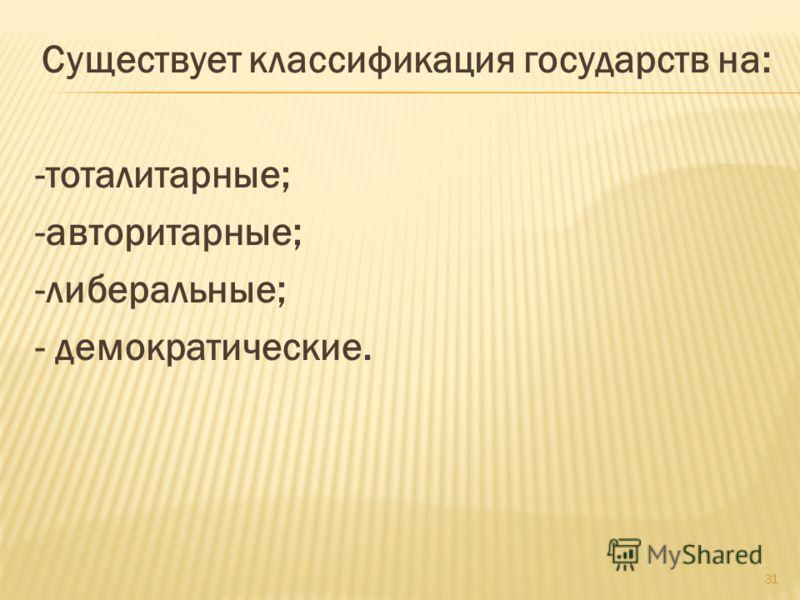 Существует классификация государств на: -тоталитарные; -авторитарные; -либеральные; - демократические. 31