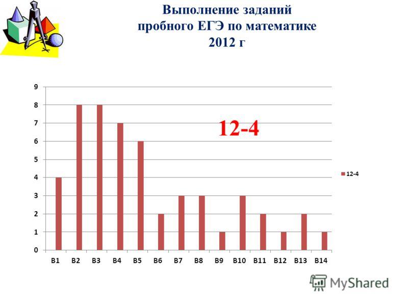 Выполнение заданий пробного ЕГЭ по математике 2012 г