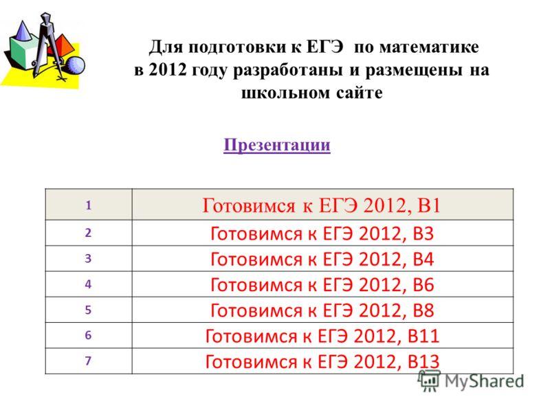 Для подготовки к ЕГЭ по математике в 2012 году разработаны и размещены на школьном сайте 1 Готовимся к ЕГЭ 2012, В1 2 Готовимся к ЕГЭ 2012, В3 3 Готовимся к ЕГЭ 2012, В4 4 Готовимся к ЕГЭ 2012, В6 5 Готовимся к ЕГЭ 2012, В8 6 Готовимся к ЕГЭ 2012, В1