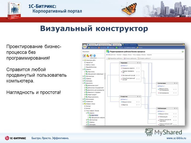 Визуальный конструктор Проектирование бизнес- процесса без программирования! Справится любой продвинутый пользователь компьютера. Наглядность и простота!