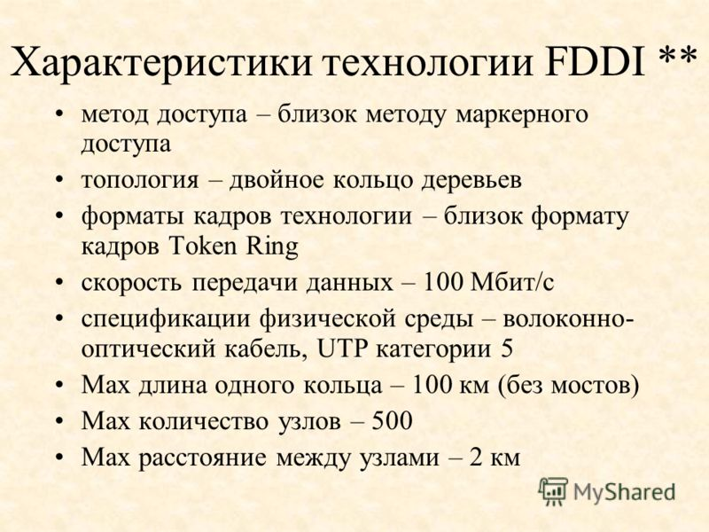 Характеристики технологии FDDI ** метод доступа – близок методу маркерного доступа топология – двойное кольцо деревьев форматы кадров технологии – близок формату кадров Token Ring скорость передачи данных – 100 Мбит/с спецификации физической среды –