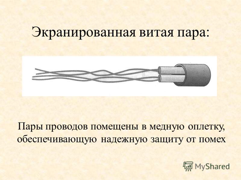 Экранированная витая пара: Пары проводов помещены в медную оплетку, обеспечивающую надежную защиту от помех