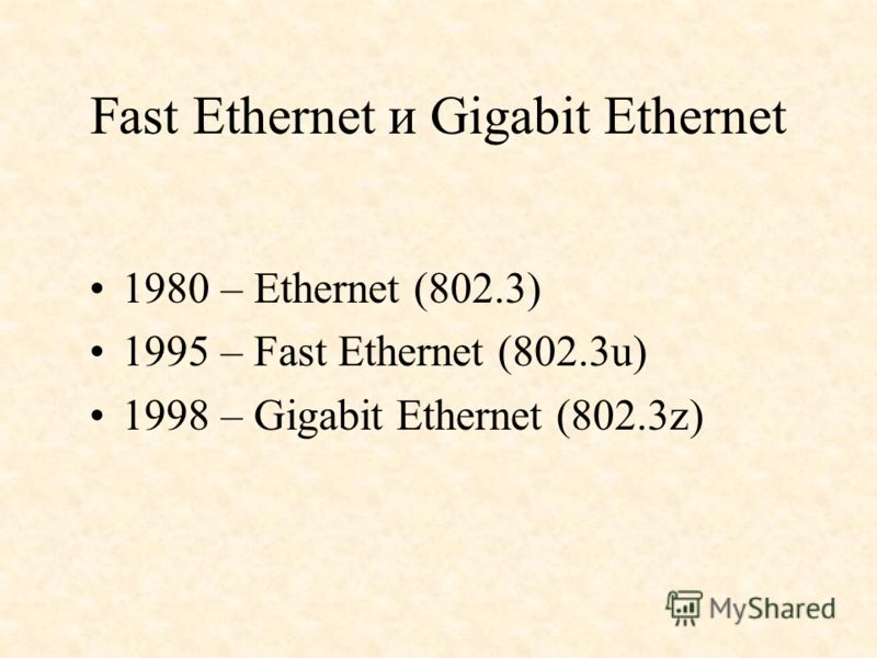 Fast Ethernet и Gigabit Ethernet 1980 – Ethernet (802.3) 1995 – Fast Ethernet (802.3u) 1998 – Gigabit Ethernet (802.3z)