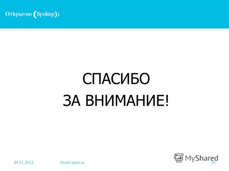 СПАСИБО ЗА ВНИМАНИЕ! 04.11.2012invest.open.ru34