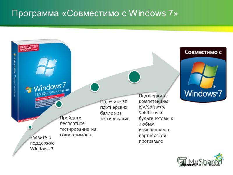 Программа «Совместимо с Windows 7» Заявите о поддержке Windows 7 Пройдите бесплатное тестирование на совместимость Получите 30 партнерских баллов за тестирование Подтвердите компетенцию ISV/Software Solutions и будьте готовы к любым изменениям в парт