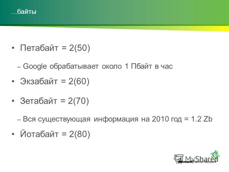 ...байты Петабайт = 2(50) – Google обрабатывает около 1 Пбайт в час Экзабайт = 2(60) Зетабайт = 2(70) – Вся существующая информация на 2010 год = 1.2 Zb Йотабайт = 2(80)