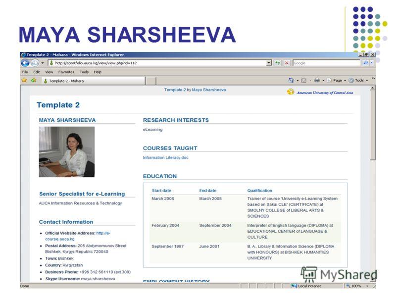 MAYA SHARSHEEVA