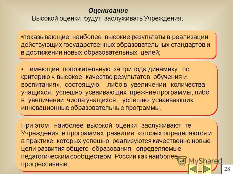 При этом наиболее высокой оценки заслуживают те Учреждения, в программах развития которых определяются и в практике которых успешно реализуются качественно новые цели развития общего образования, определяемые педагогическим сообществом России как наи