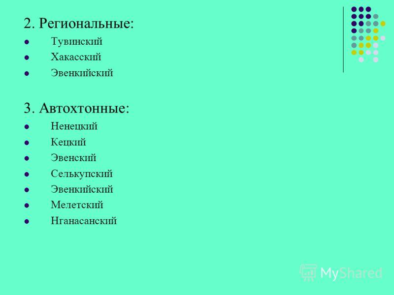 2. Региональные: Тувинский Хакасский Эвенкийский 3. Автохтонные: Ненецкий Кецкий Эвенский Селькупский Эвенкийский Мелетский Нганасанский