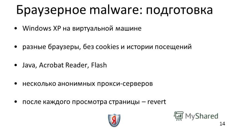 Windows XP на виртуальной машине разные браузеры, без cookies и истории посещений Java, Acrobat Reader, Flash несколько анонимных прокси-серверов после каждого просмотра страницы – revert Браузерное malware: подготовка 14