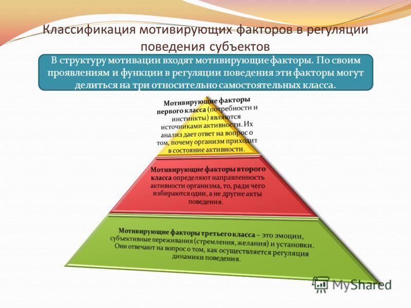 Классификация мотивирующих факторов в регуляции поведения субъектов В структуру мотивации входят мотивирующие факторы. По своим проявлениям и функции в регуляции поведения эти факторы могут делиться на три относительно самостоятельных класса.