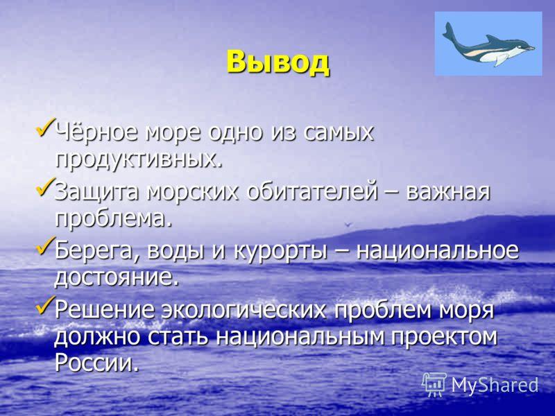Вывод Чёрное море одно из самых продуктивных. Чёрное море одно из самых продуктивных. Защита морских обитателей – важная проблема. Защита морских обитателей – важная проблема. Берега, воды и курорты – национальное достояние. Берега, воды и курорты –