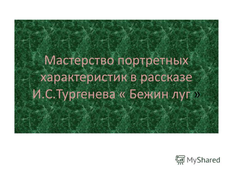 Мастерство портретных характеристик в рассказе И.С.Тургенева « Бежин луг »