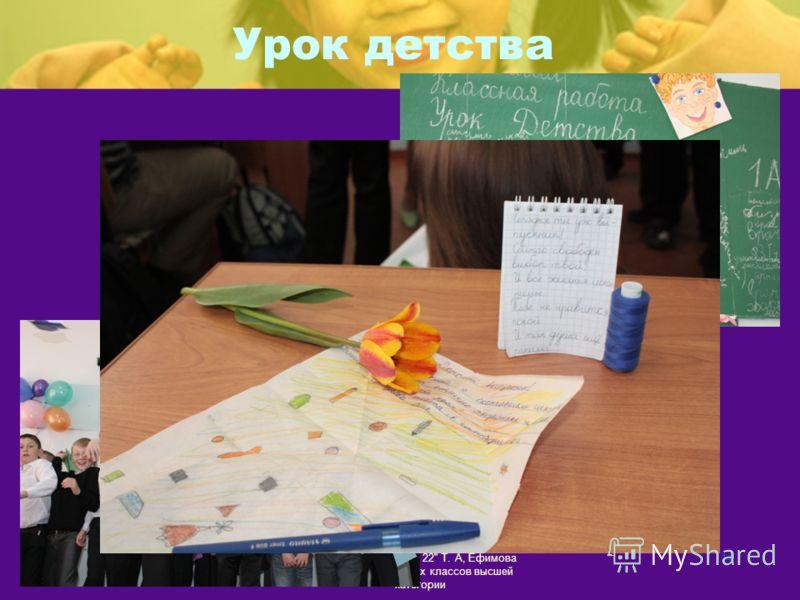 Урок детства МОУ Гимназия 22 Т. А, Ефимова учитель начальных классов высшей категории 14