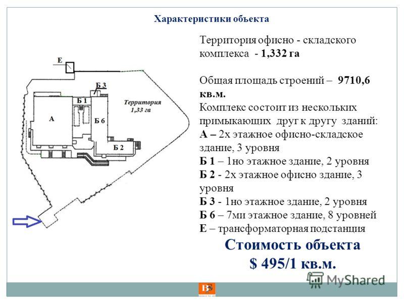 Территория офисно - складского комплекса - 1,332 га Общая площадь строений – 9710,6 кв.м. Комплекс состоит из нескольких примыкающих друг к другу зданий: А – 2х этажное офисно-складское здание, 3 уровня Б 1 – 1но этажное здание, 2 уровня Б 2 - 2х эта