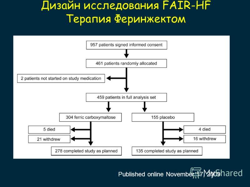 Дизайн исследования FAIR-HF Терапия Феринжектом Published online November 17, 2009